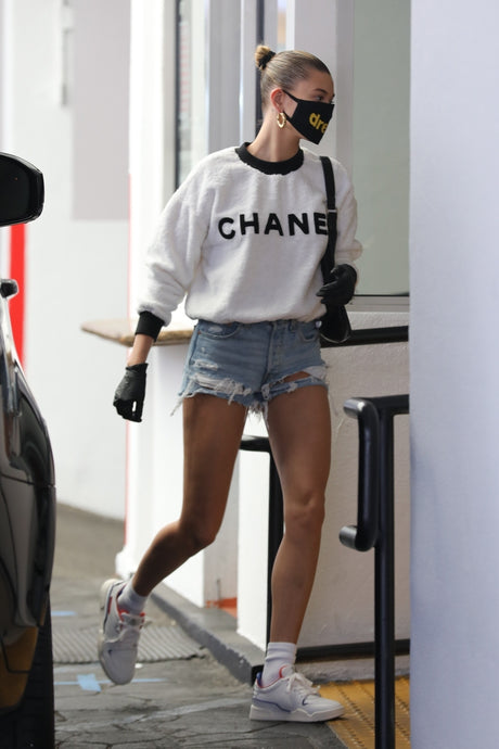 Hailey Bieber's White Logo Crewneck Sweatshirt In Beverly Hills