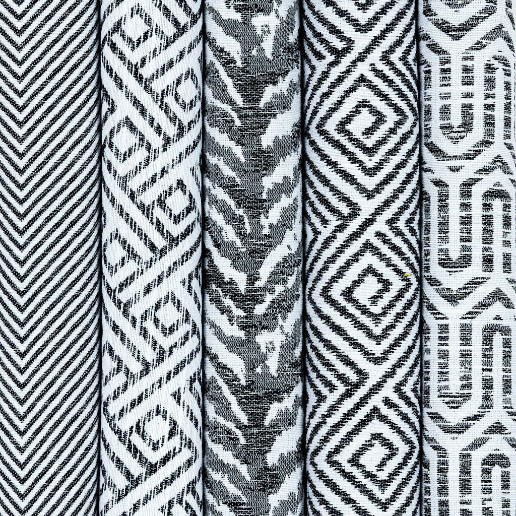 McAlister Textiles Black & White Upholstery Material Fabric by Metre, 5 Designs