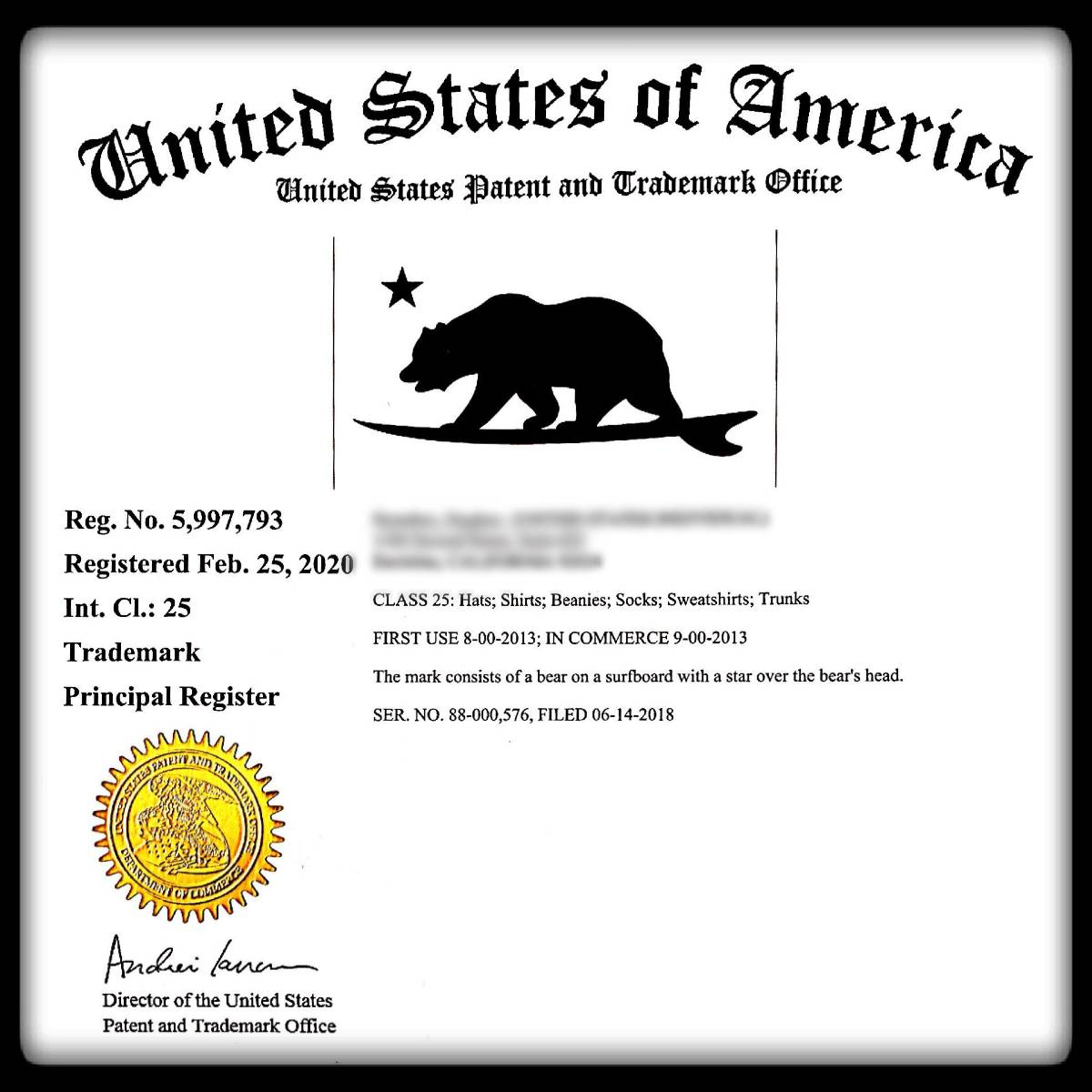 California Surf Bear Trademark - Pacific Coast Apparel - USPTO Certificate