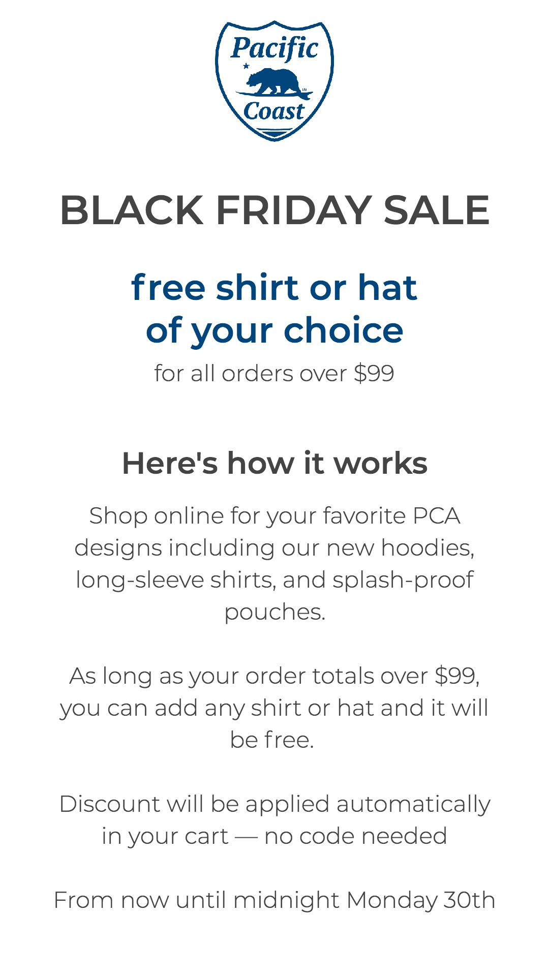 Black Friday 2020 - Free Hat or Shirt on any order $99+