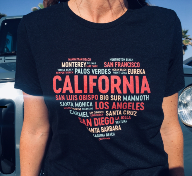 California Community Heart T-shirt. Heather, Relaxed fit, SS jersey crew T-shirt.
