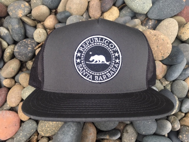Republic of Santa Barbara - Surf Bear® Premium Trucker Hat  - Grey Front