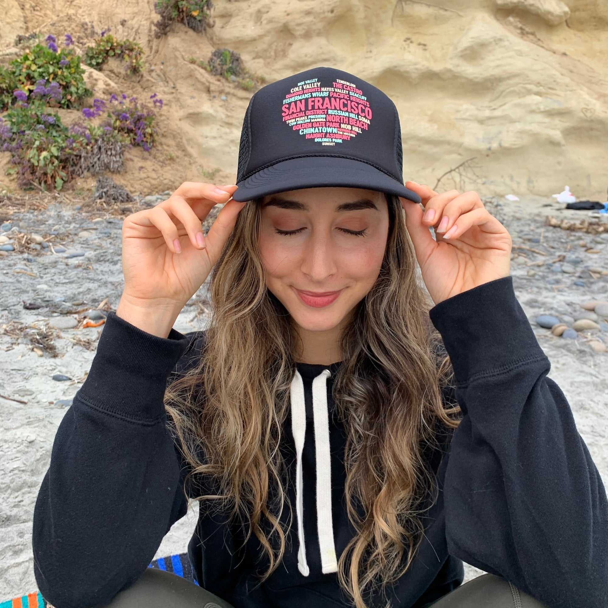San Francisco Community Heart Trucker Hat - All The Famous Streets and Neighbourhoods of SF - Unisex - One Size Fits Most - Black with Pastel Lettering