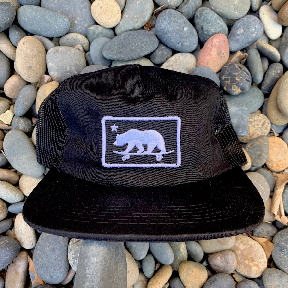 California skateboarding bear - patch hat