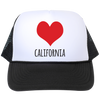 California Love Trucker Hat - White Front Panel with Large Red Heart - Designed & Printed in USA - Free Shipping