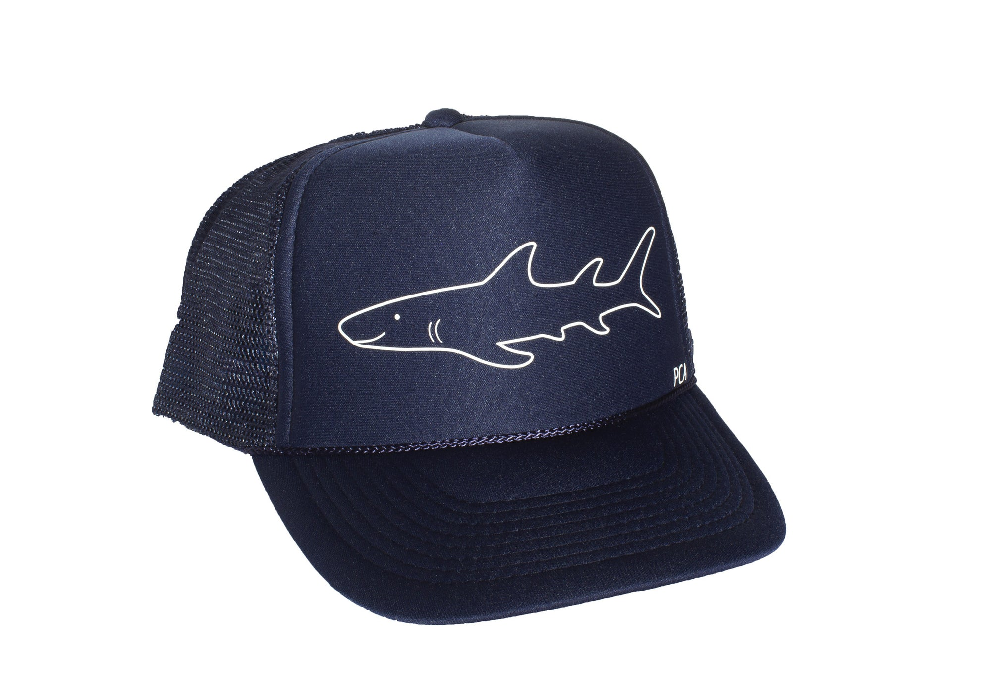 Friendly Shark Trucker Hat - Front View - Designed & Printed in USA - Pacific Coast Apparel, Encinitas, California