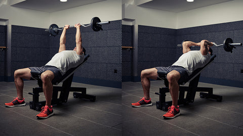 skull crushers workout with barbell bar weight bench