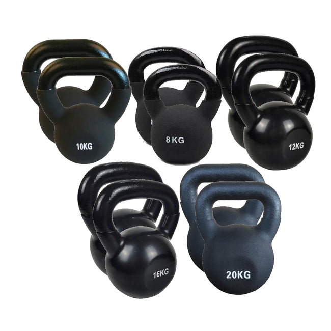 2 sets of 5 Cast Iron Kettlebells - 8kg, 10kg, 12kg, 16kg, 20kg (Pre Order for May 20th)
