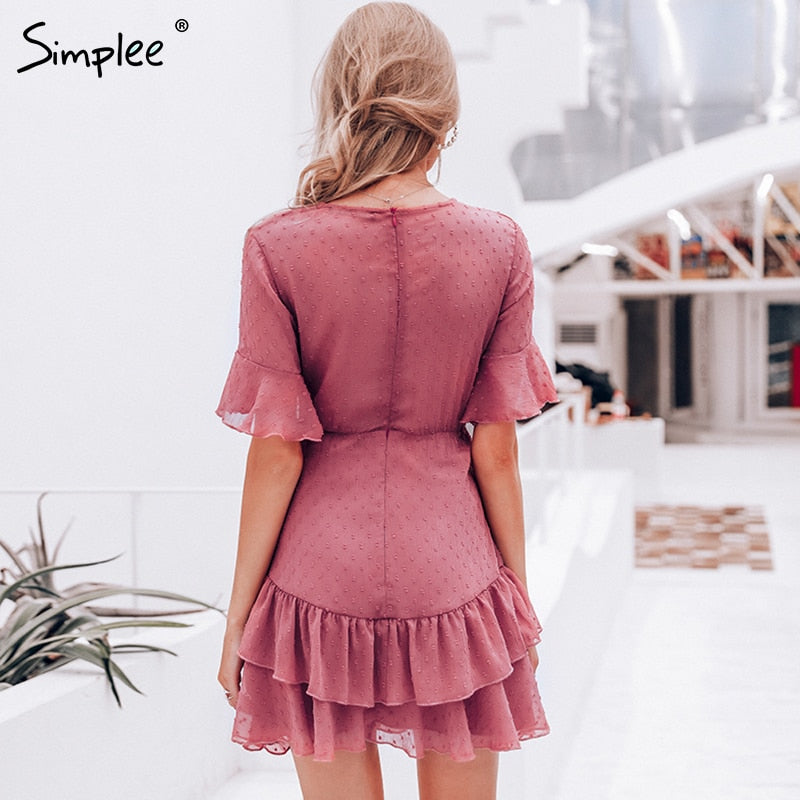 Simplee Sexy v-neck polka dot women dress Summer style layer ruffle chiffon short sundress Elegant zipper holiday vestidos - Emporio Magno