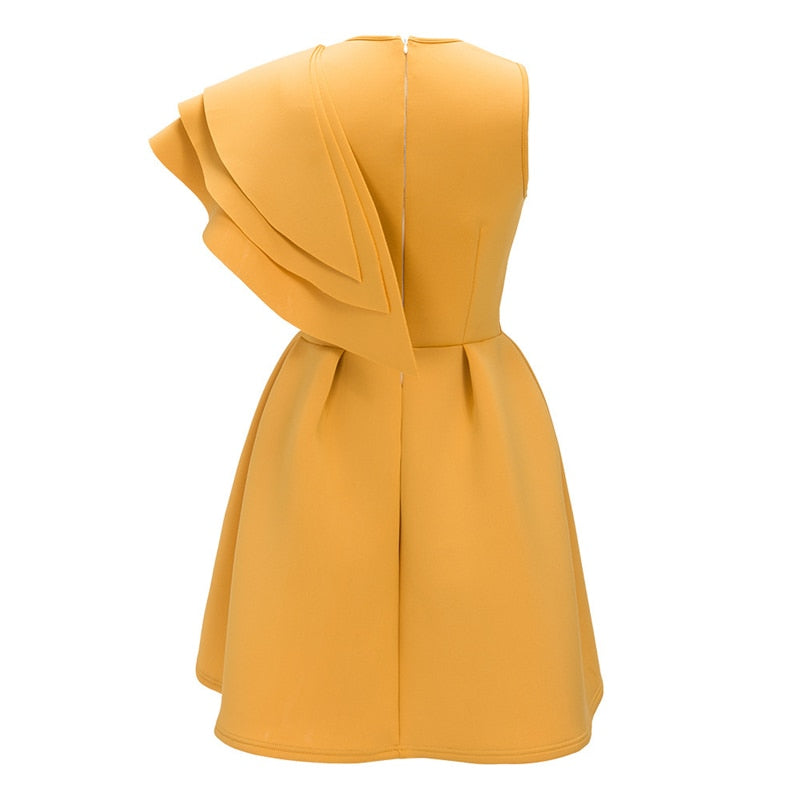 One Shoulder Cascading Ruffle Mini Party Dresses Scuba Solid Yellow Women Autumn Winter Fashion Casual Dresses - Emporio Magno
