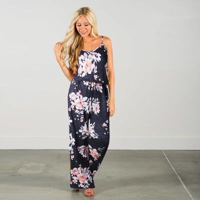 Women Super Comfy Floral Jumpsuit Fashion Trend Sling Print Loose Piece Trousers - Emporio Magno