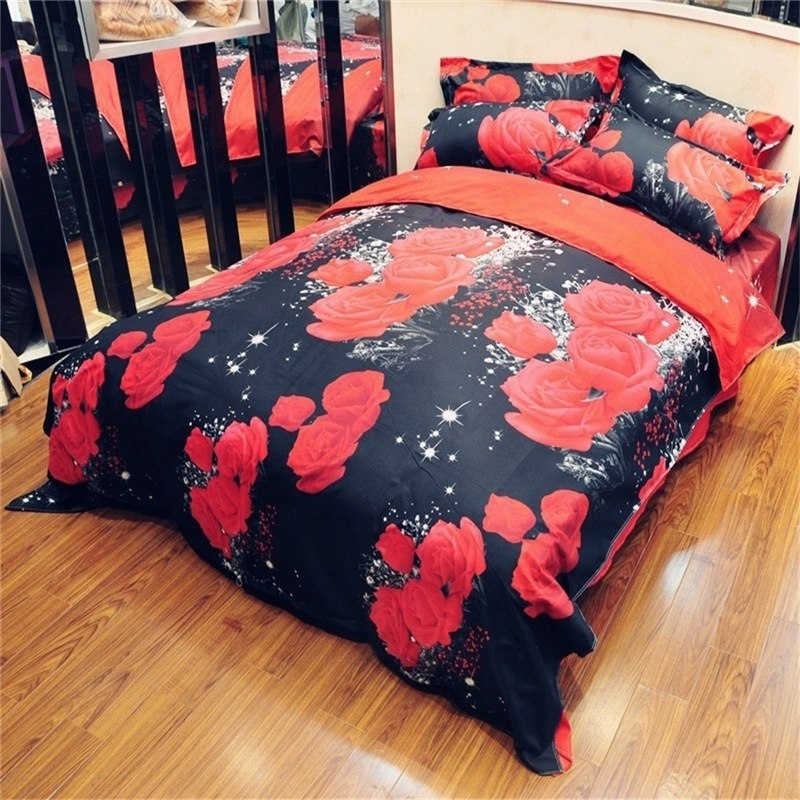 2/3Pcs Red Dream 3D Oil Painting Rose Printed Bedding Set Queen King Size Quilt Cover Bed Sheet Pillowcases - Emporio Magno