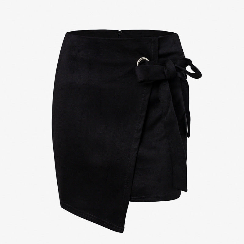 Asymmetrical sash bow suede skirts women High waist split sexy black skirts 2018 Autumn winter casual mini skirts - Emporio Magno