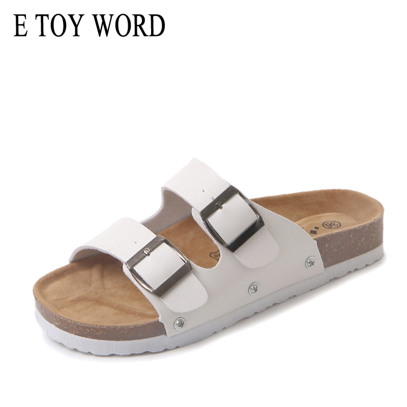 Beach Shoes Cork Slippers Casual Metal Double Buckle Womens Flip Flops - Emporio Magno