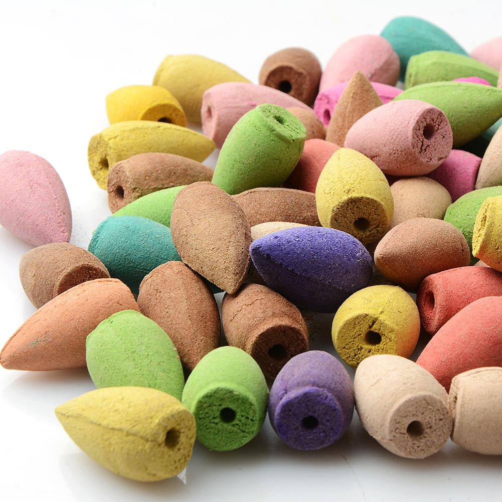 50PCS Floral Incense Cone With Tray Colorful Fragrance Scent Tower Incense Mixed Scent Aromatherapy Fresh Air Aroma Spice - Emporio Magno