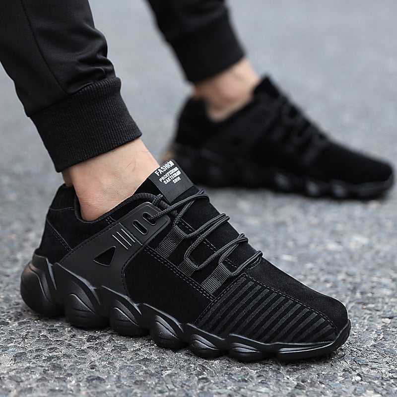 Popular Male Casual Shoes for Men Adults Comfortable Senior Suede Black Male Sneakers - Emporio Magno