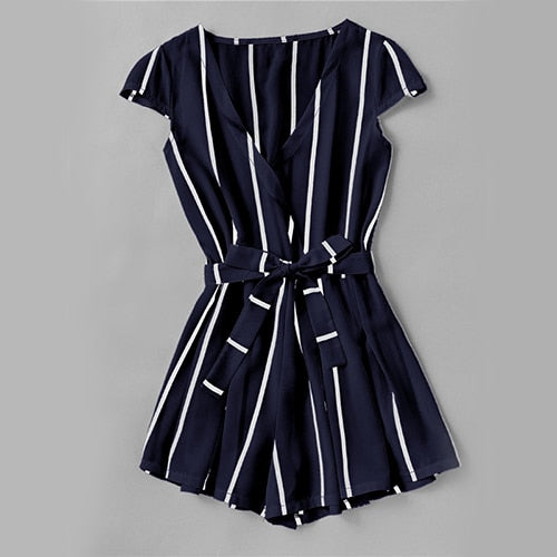 Surplice Belt Romper Vertical Striped Women Casual Navy Elegant Summer Playsuit 2019 New V Neck Sexy OL Work Slim Romper - Emporio Magno