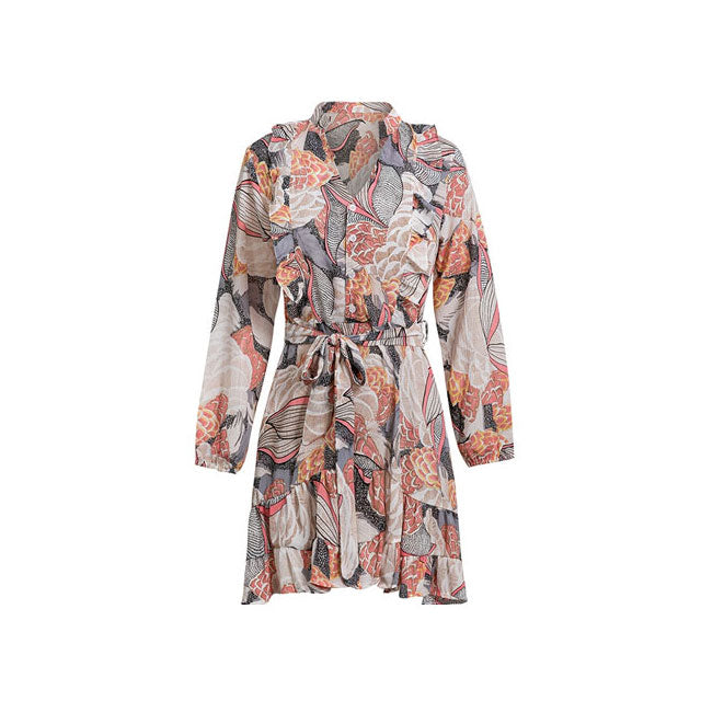 Elegant Floral Print Women Short Shirt Dress V Neck Long Sleeve Ruffle Satin Vestidos Spring Casual Sundress - Emporio Magno