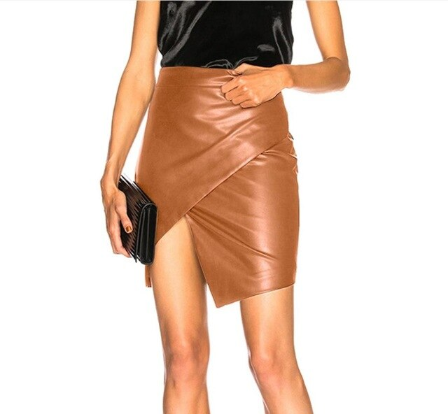 Womens Faux Leather Sexy Skirts High Waist Black Stretch Skinny Warp Midi Bodycon Casual Office Short Split Mini Skirts - Emporio Magno