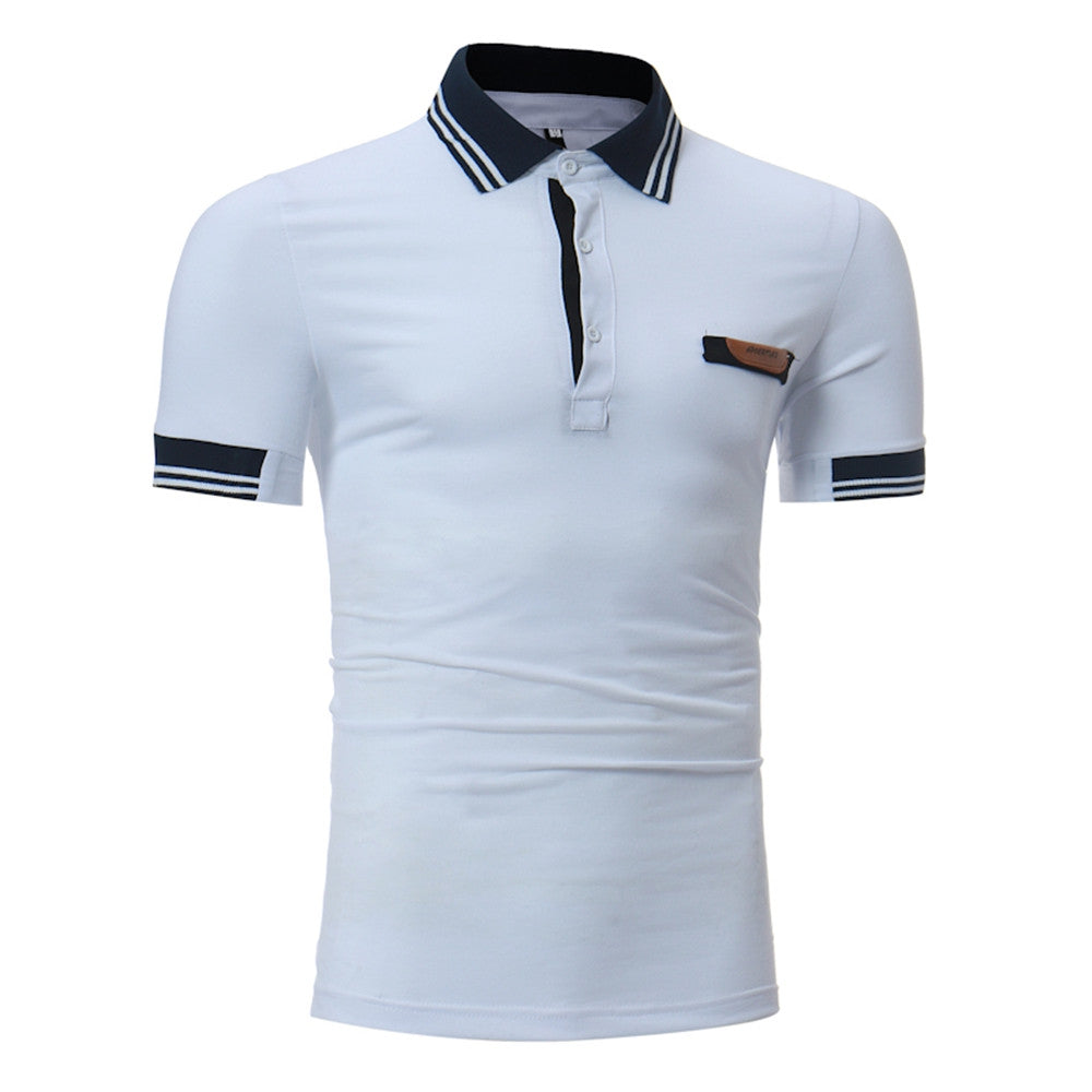Men's Striped Collar Design Casual Short Sleeve POLO Shirt - Emporio Magno