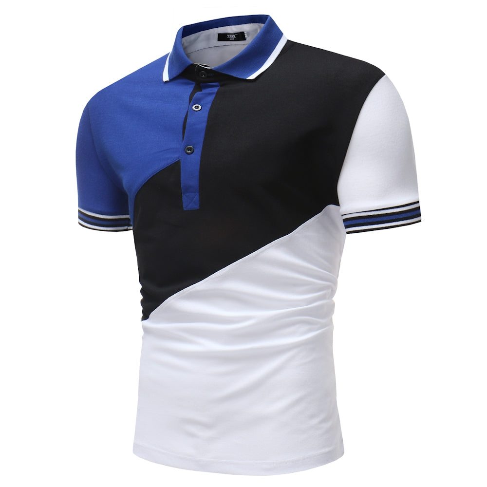 Men's Fashion Slant Casual Stitching Short-Sleeved Polo Shirt - Emporio Magno