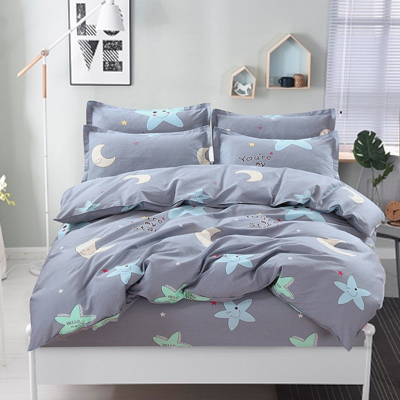 100% Cotton Nordic Style Bedding Set 4pcs Quilt Cover Geometric King Queen Twin Duvet Cover Bed sheet Fitted sheet Pillowcase - Emporio Magno