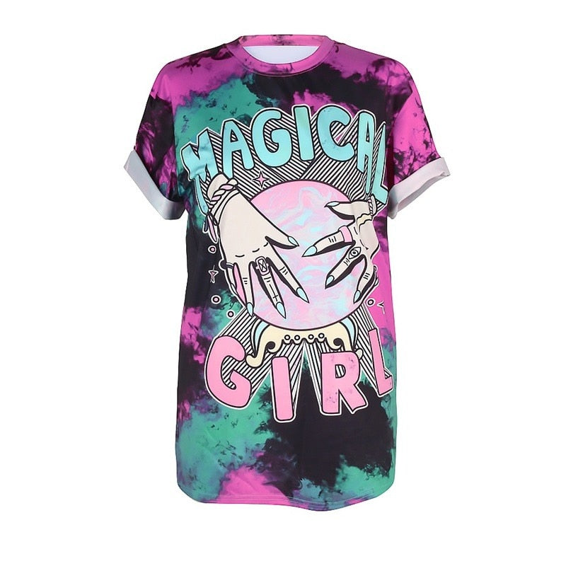 Raisevern Womens Punk T shirt Magical Girl Print Short Sleeve Summer Hip Hop Tshirt Casual Female Tee Tops Plus Size - Emporio Magno