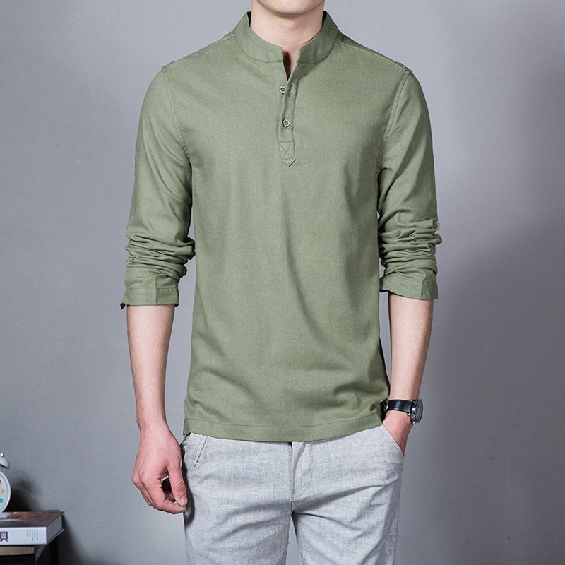 Long sleeve Men's shirts male casual Linen shirt men Brand Plus size Asian size camisas - Emporio Magno