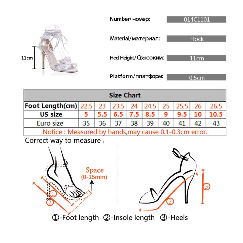 Cross Bandage High Heels Sandals Women Pumps Thin Heel Ruffle Lace Up Summer Shoes - Emporio Magno