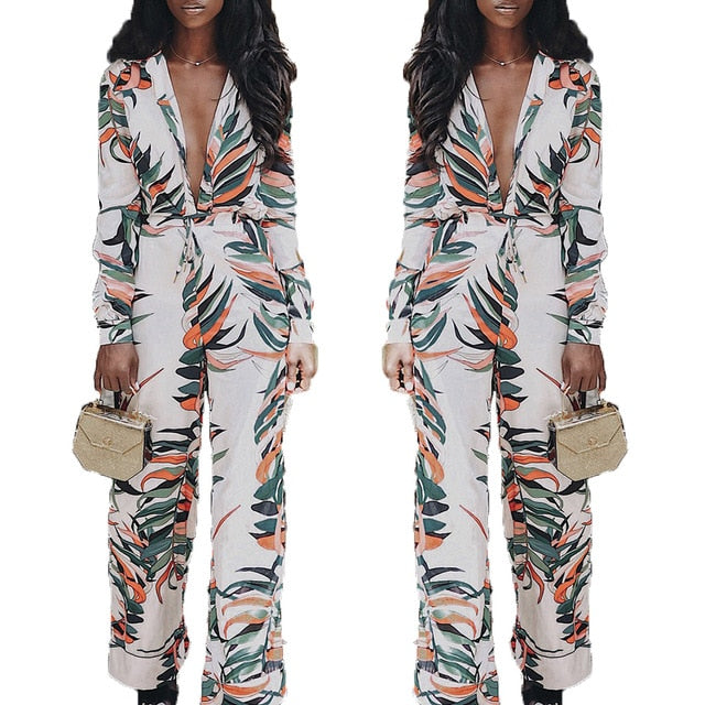 Women Sexy Lady Casual V Neck Plant Printed Long Sleeve Holiday Bodycon Jumpsuit Slim Romper Wide Leg Trouser - Emporio Magno