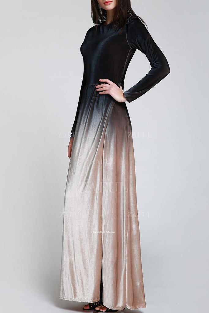 High Split Ombre Color Velvet Maxi Dress - Emporio Magno