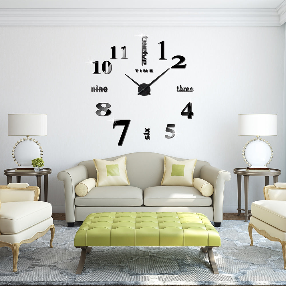 M.Sparkling Large 3D Mirror Effect Sticker DIY Digital Wall Clock Home Decoration - Emporio Magno