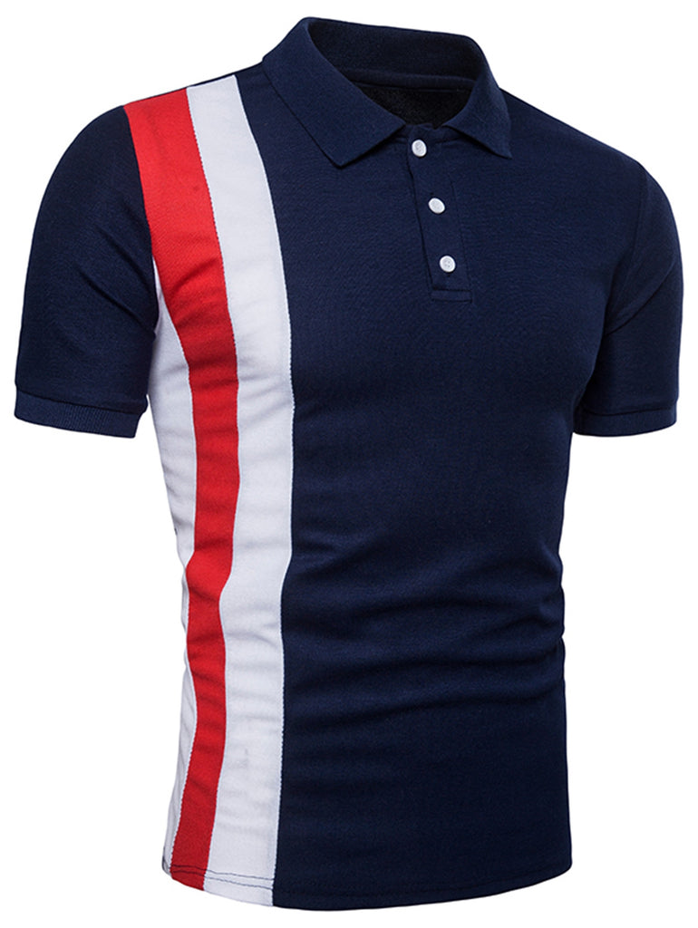Vertical Striped Color Block Polo Shirt - Emporio Magno