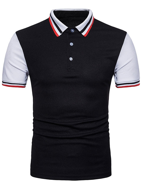 Contrast Color Striped Short Sleeve Polo T-shirt - Emporio Magno