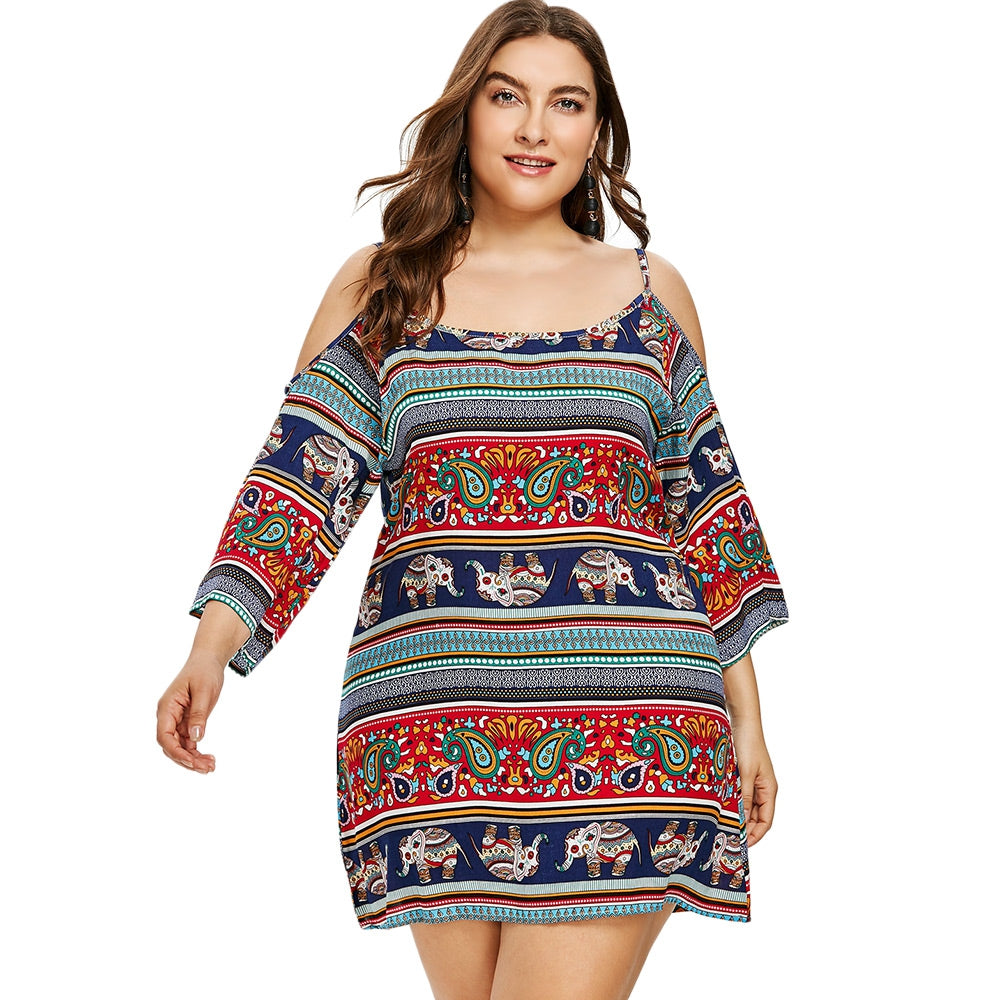 Plus Size Open Shoulder Ethnic Mini Dress - Emporio Magno
