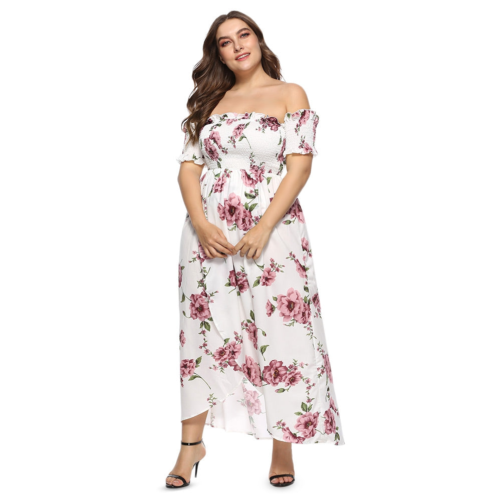 Off The Shoulder Floral Print Slit Plus Size Women Maxi Dress - Emporio Magno