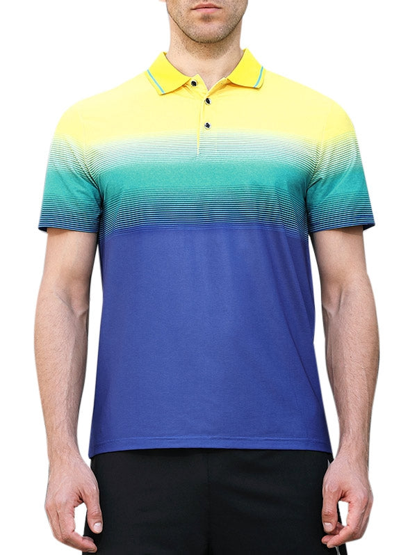 Quick Dry Striped Polo Collar Line Print Sports T-shirt - Emporio Magno