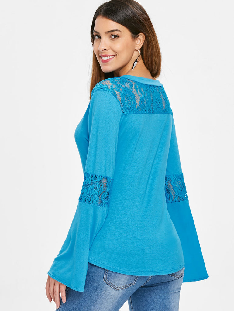 Lace Insert Bell Sleeves T-shirt - Emporio Magno