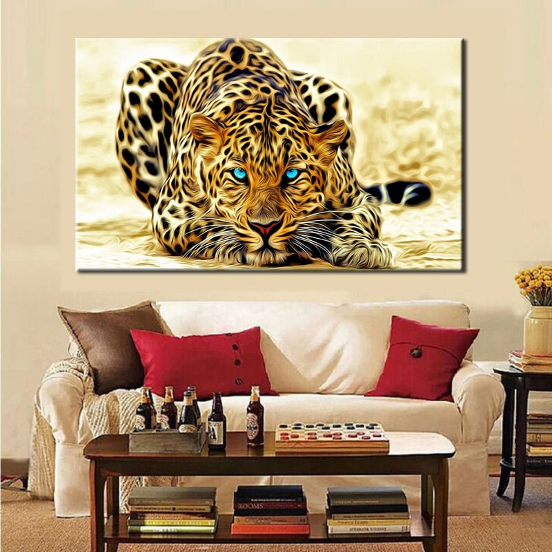 Modern Paintings HD Digital Printed on Canvas, Wall Art Large Leopard Poster for Living Room Home Decor No Frame - Emporio Magno