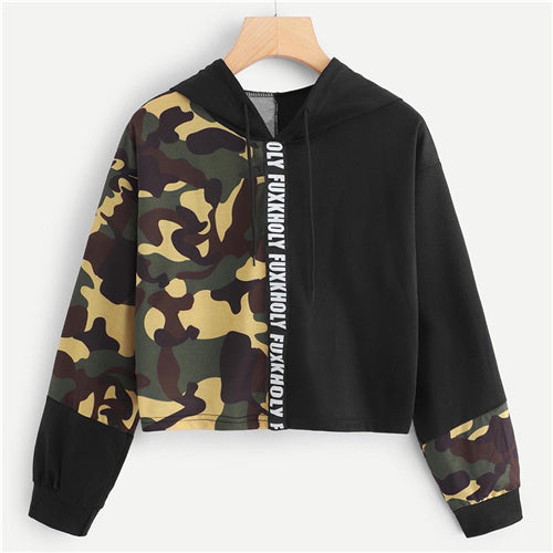 Letter Camouflage Print Drawstring Detail Crop Sweatshirt Long Sleeve Clothing Pullovers Hoodie - Emporio Magno