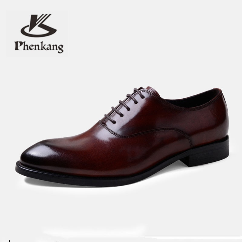 Formal Shoes Genuine Leather Oxford Shoes Wedding Shoes Laces Leather Brogues - Emporio Magno