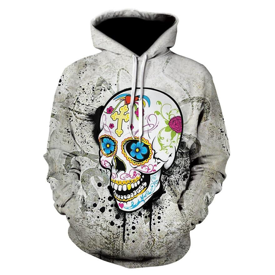 Men Women Halloween Skull Digital Printing Long-sleeve Hoodies - Emporio Magno
