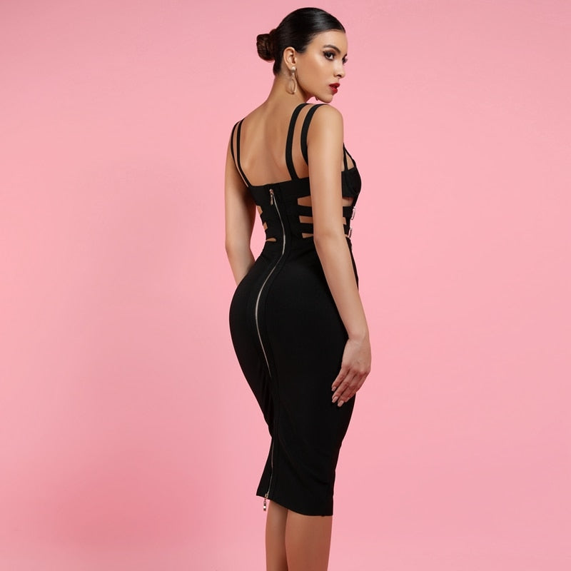 Black Bandage Dress New Sexy V Neck Bandage Bodycon Dress - Emporio Magno