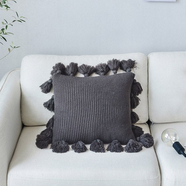 Solid Color Fringe Side Pillow Nordic Ins Style Wool Lantern Ball Pillow Creative Office Home Soft Sofa Cushion - Emporio Magno