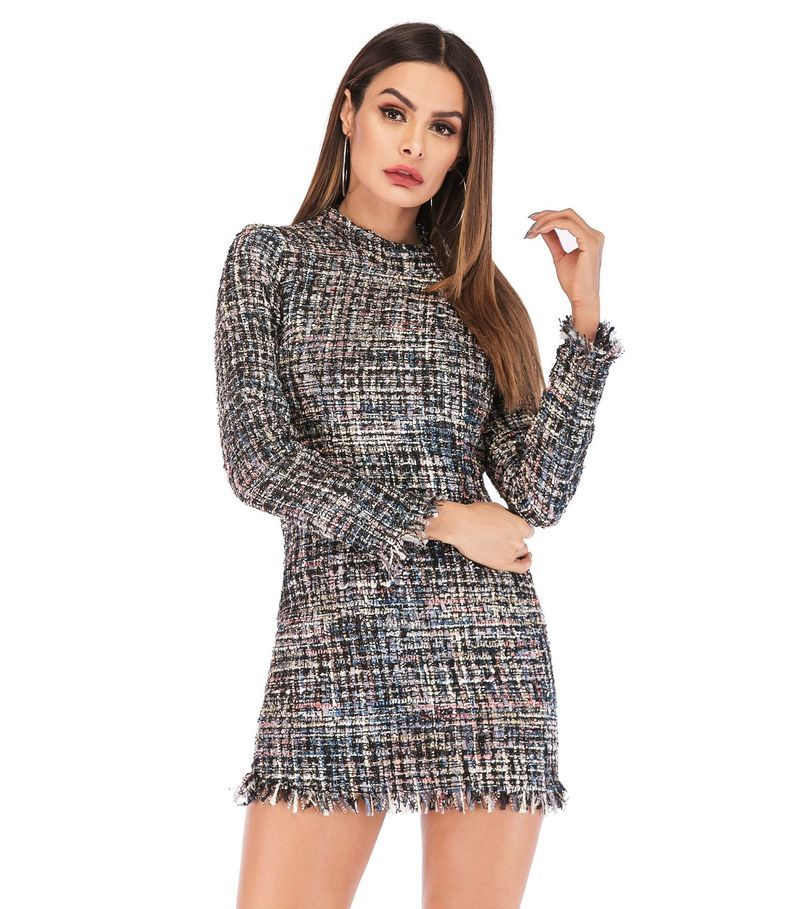 Spring Plaid Print Tassels Mini Dress Women Elegant Vintage Dress Long Sleeve Sheath Casual Dress Female Bodycon Dress - Emporio Magno