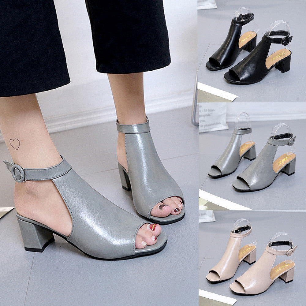 Ladies Sandals Ankle High Heel Block Party Open Toe Shoes Thick Heel Fashion Hollow Toe Shoes - Emporio Magno