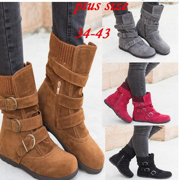 Winter buckled calf women's boots, winter women's warm zipper boots, plain flat shoes, large size women's casual boots - Emporio Magno
