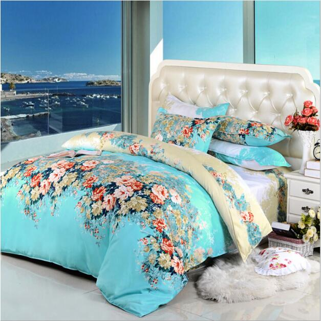 Rural princess printing lovely flowers 4pcs/3pcs quilt Cover Sets Soft Polyester Bed Linen Flat Bed Sheet Set Pillowcase - Emporio Magno
