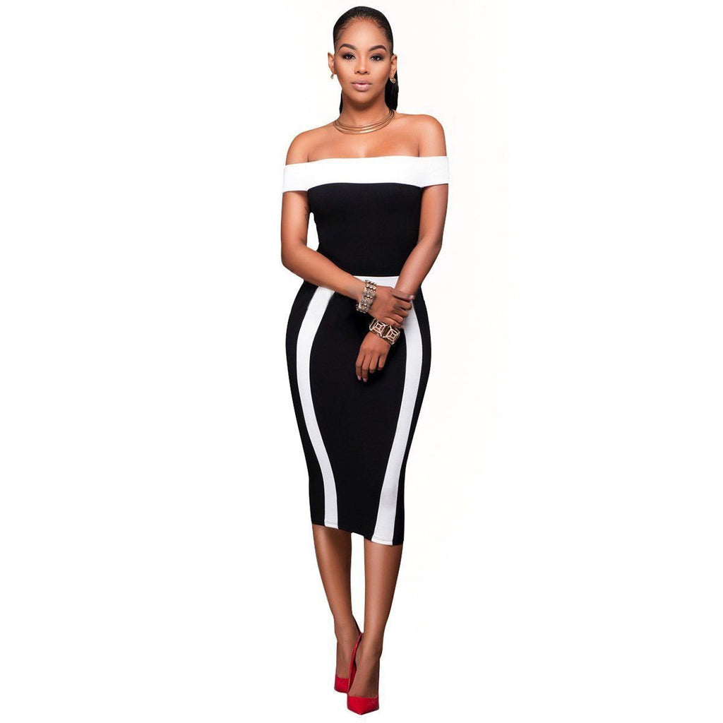 Off Shoulder Bodycon Dress Women Clothes Clothing Dresses Casual Bandage short Sleeve Party Fashion Women - Emporio Magno