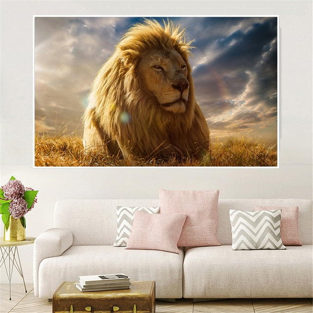 Canvas Posters Home Decor Wall Art Mane Savannah Lion Paintings For Living Room Posters Prints Abstract Animal Pictures Cuadros - Emporio Magno